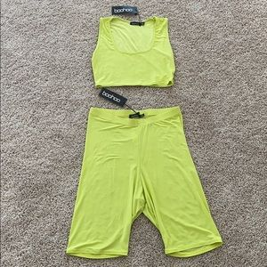 Co-ord cycle height waist shorts and crop top